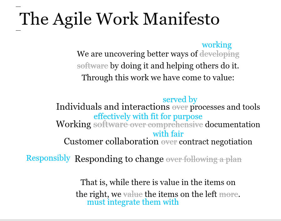 The Agile Work Manifesto